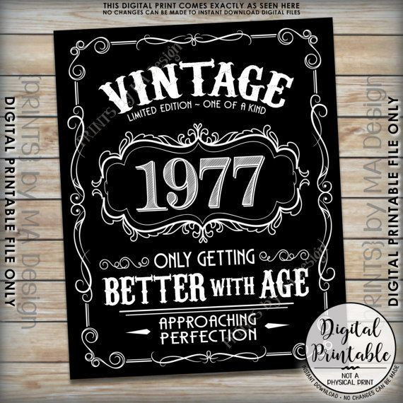 1977 Birthday Sign Better with Age Vintage Birthday Aged to