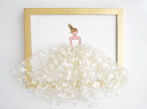GOLDIE Princess in gold&white heart shaped tulle by ShenasiConcept