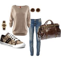 what to wear with brown coach sneakers - Google Search