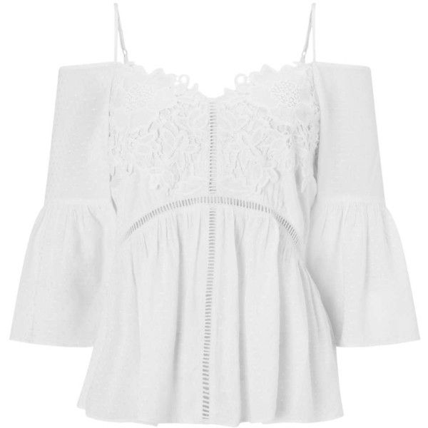 Miss Selfridge PETITE Bardot Smock Top ($32) ❤ liked on Polyvore featuring tops, ivory, petite, embroidered lace top, off-the-shoulder tops, embroidered top, petite tops and lacy tops