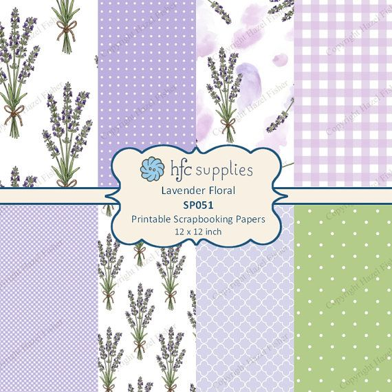 Lavender Floral Digital Papers  printable scrapbooking paper set by hfcSupplies on Etsy. Set of 8 designs featuring lavender flower stems, watercolour style, spots and gingham checks. Use in scrapbooking, cardmaking, paper craft projects or for wrapping small gifts.