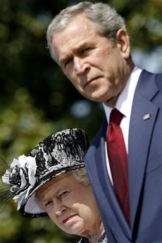 It's probably the sun in their eyes...but it sure makes for a funny photo. (The Queen, and President George W. Bush)
