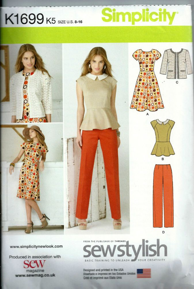 Simplicity Sewing Pattern  K1699  US Size 8-16 Dress, Trousers Jacket etc