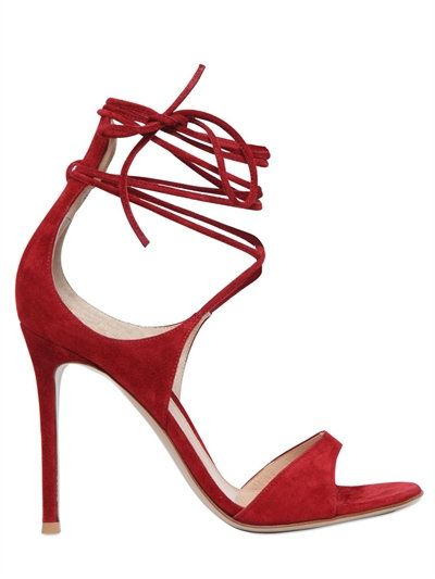 GIANVITO ROSSI - 100MM LACE-UP SUEDE SANDALS - RED