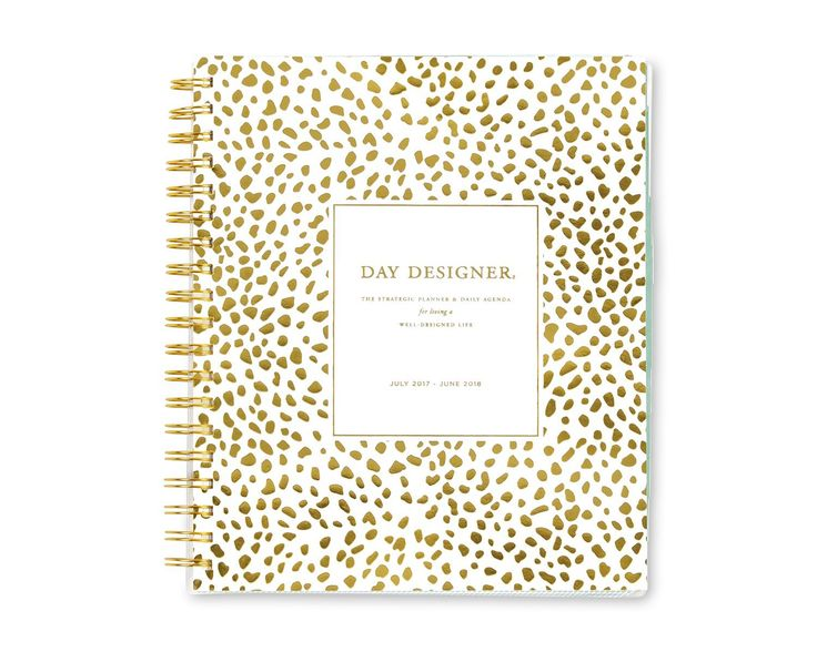 "Day Designer for Blue Sky 2017-2018 Academic Year Daily & Monthly Planner, Twin-Wire Bound, 8"" x 10"", Gold Spotty Dot #Ad"