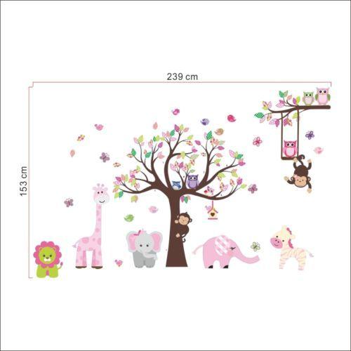 Wandtattoo-Wald-Sticker-Tiere-Baum-Wandbild-Affe-Loewe-Neu-Rosa-Maedchen-Suess-XL