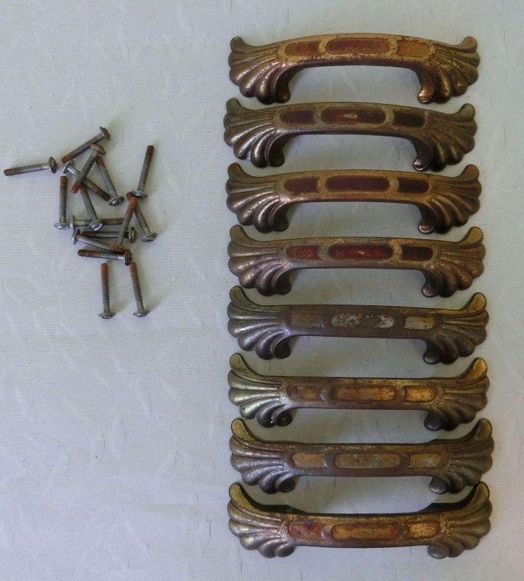 Lot of 8 Vintage Brass? Metal Drawer Pulls Cabinet Dresser Door Handles w Screws
