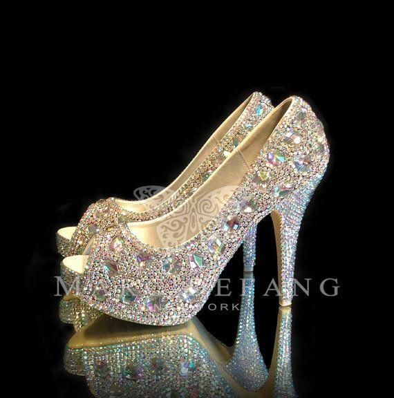 Wedding Shoes, AB Crystals, Iridescent Snow Diamond Peep Toe Platform Luxury, Wedding Heels on Etsy, $249.00
