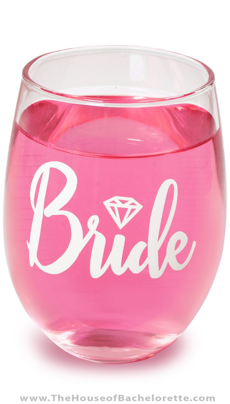 The perfect Bridal Shower Gift - this Bride Stemless Wine Glass is so pretty - the Bride will take if everywhere!