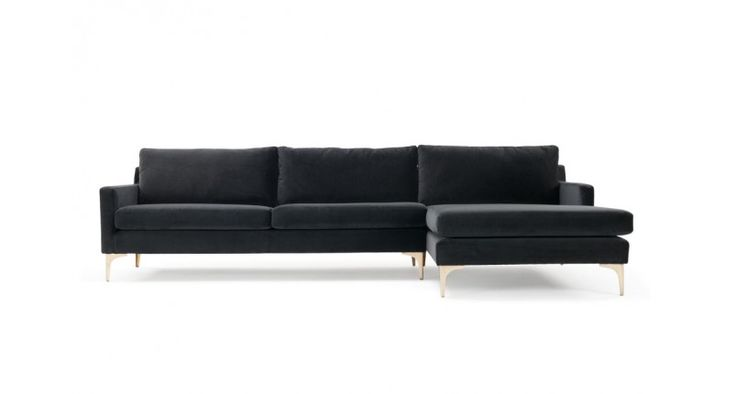 Astha, 3-seater sofa w/ chaiselong right, Velour Dark Grey, Brass Color Legs