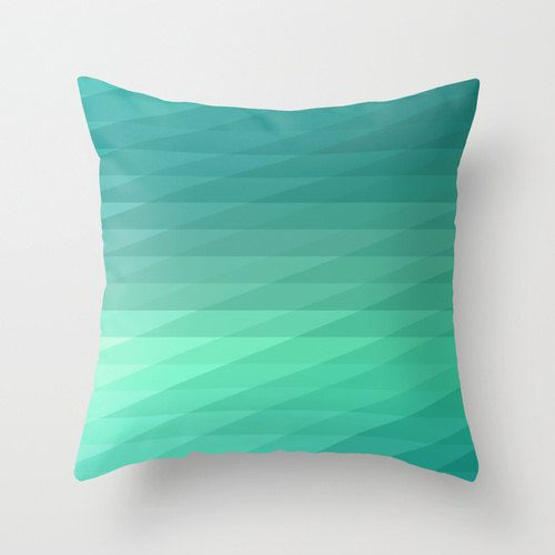 "#habitatpintowin 16""x16"" Mint Green Geometric Striped Throw Pillow"