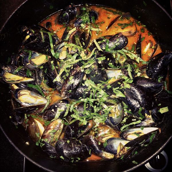 Thai red curry mussels with bok choy and sea bass