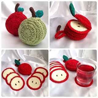 ༺✿ •✿• ✿༻ Porta -Copos em Crochê de Maçã - / ༺✿ •✿• ✿༻ Beverage Coasters with Crochet of Apple -