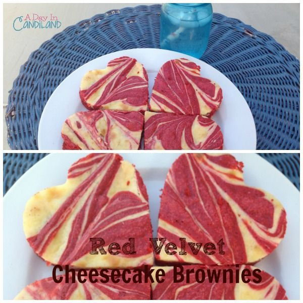 Red Velvet Cream Cheese Brownies is an easy dessert recipe that can be  cut into heart shapes to show how much you care. #candilandblogs  | http://adayincandiland.com