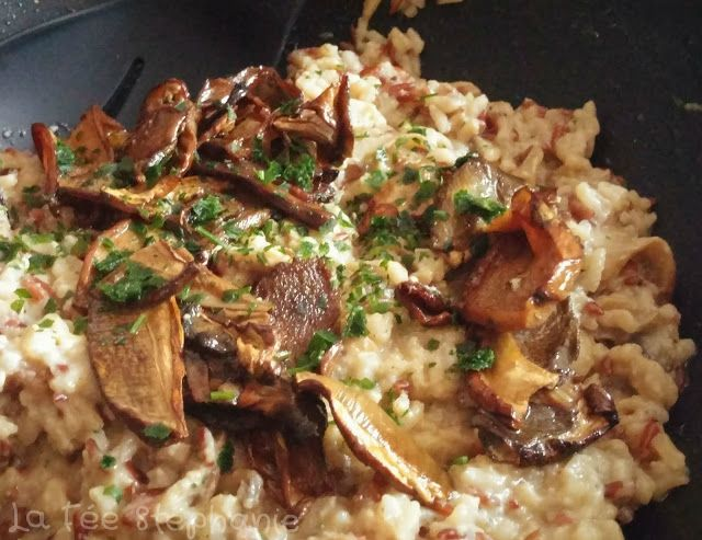 La Fée Stéphanie: Risotto aux cèpes, crème de champignons et riz rouge de Camargue