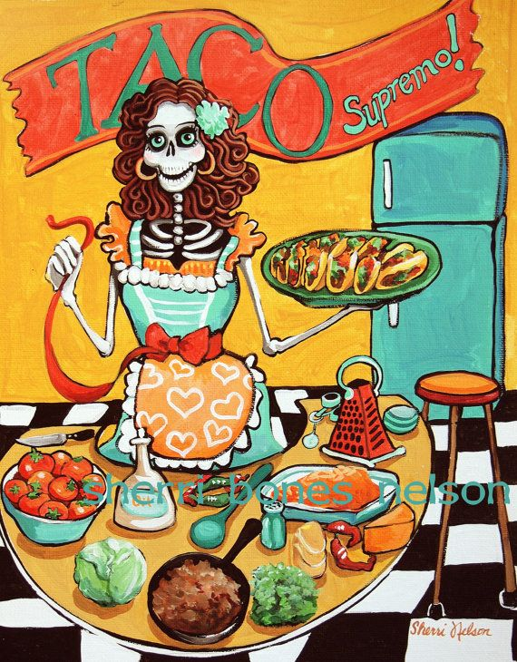 Mexican Food Poster Day of the Dead Kitchen Art by BonesNelson, $14.50