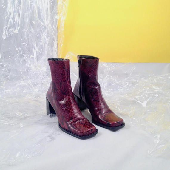 d755fa1beace8 Red snake boots / 90s square toe boots / snake print / red boots ...