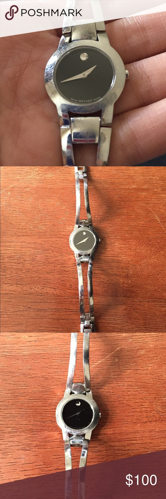Movado watch women's Small Movado watch. Amarosa model. Stainless steel. Worn. Has scuffing and scratches on band from normal wear. Sapphire crystal face has no scratches. Needs new battery. Resized to fit small wrist. No extra links. No box. Movado Accessories Watches