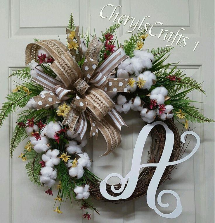 Cotton Wreath,Initial Wreath,Grapevine Wreath,Burlap Wreath,summer Wreath,Gift by CherylsCrafts1 on Etsy