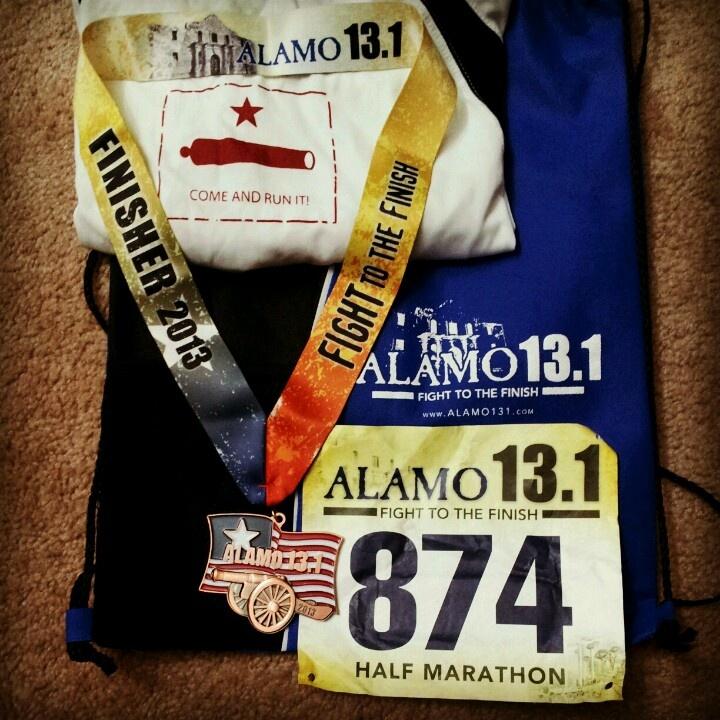 Alamo 13.1 Fight To The Finish Half Marathon March 24, 2013 San Antonio, TX - Come and Run It! - my first half marathon, finisher's medal, bib and other goodies!!!