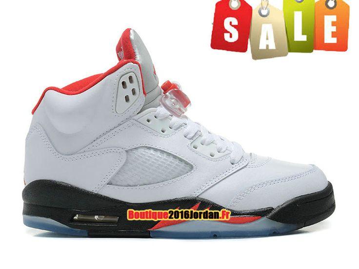 Air Jordan 5 Retro - Basket Jordan Pas Cher Chaussure Pour Femme/Garcon Blanc/Rouge/Noir 440888-100
