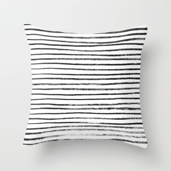 Black Brush Lines On White Throw Pillow Home Furnishings