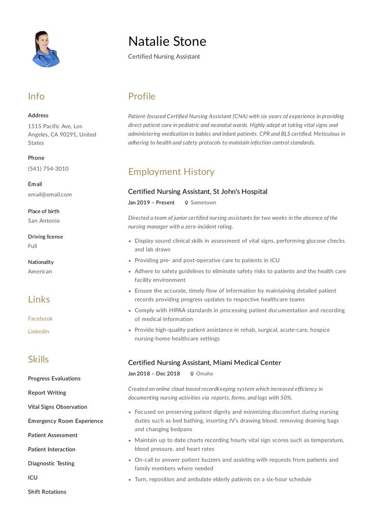Certified Nursing Assistant Resume Template in 2020