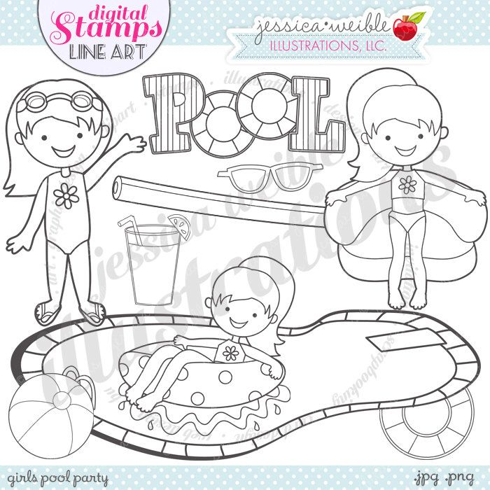 Girls Pool Party Cute Digital Stamps for Commercial or Personal Use, Pool Party Digital Stamp, Pool Graphics, Pool Party Line Art by JWIllustrations on Etsy https://www.etsy.com/uk/listing/190961805/girls-pool-party-cute-digital-stamps-for