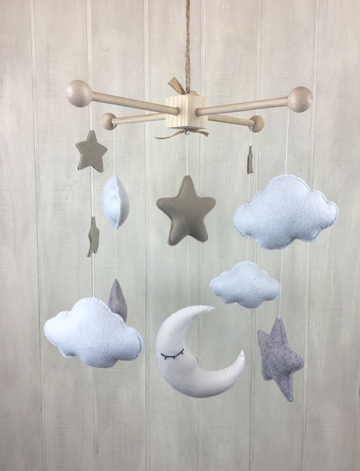Baby mobile moon star and cloud mobile baby by littleHooters