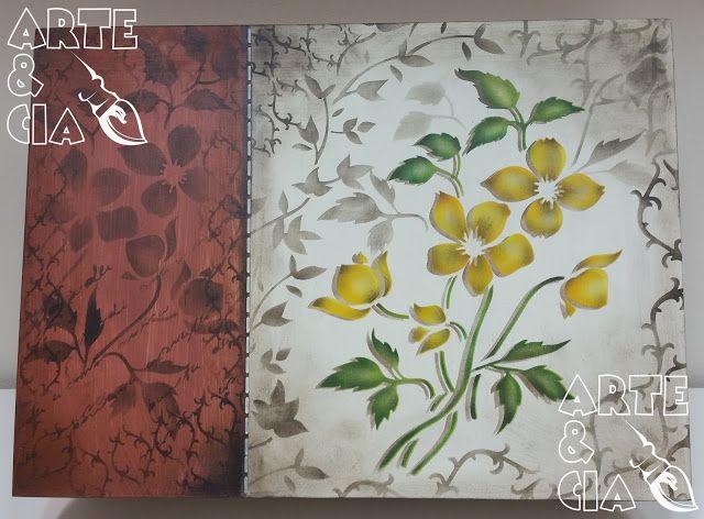 Caixa de MDF com Stencil Duplo: Flor Amarela - Arte & Cia 2