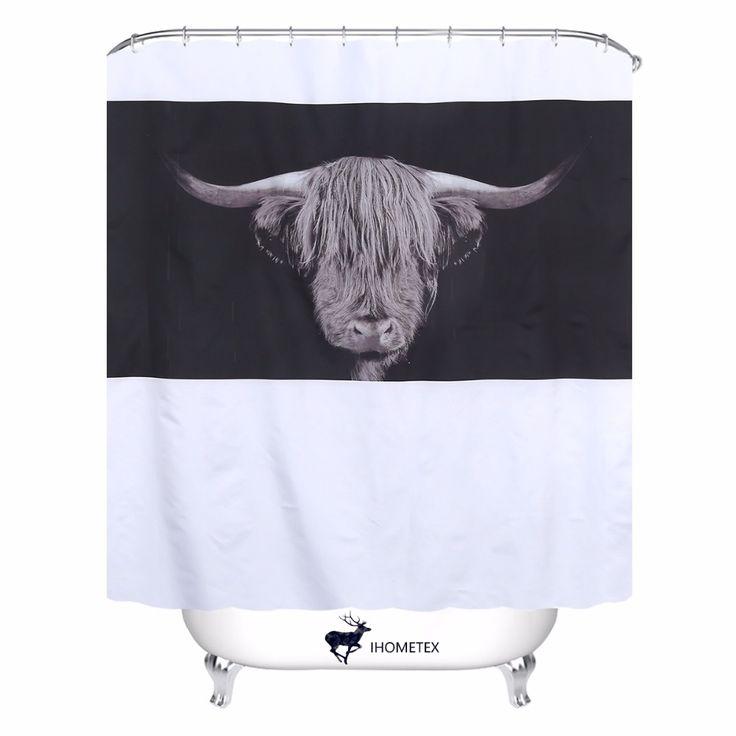 Brave Yak Animal Shower Curtain Simple Waterproof Polyester Fabric Bath Curtain With 12 Hooks Bathroom Decor Curtains 72X78inch