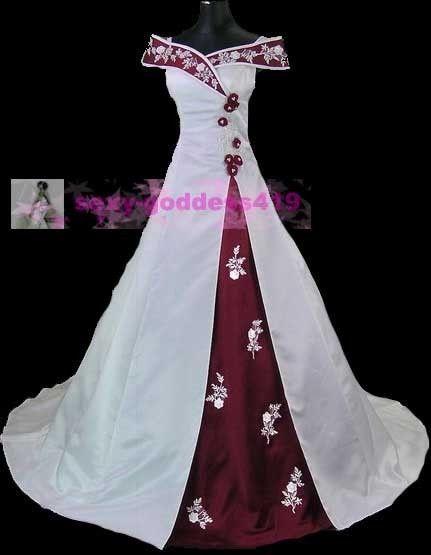 burgandy wedding dresses   ... Wedding Dresses > New White Bridal Gown Wedding Dress Size:2