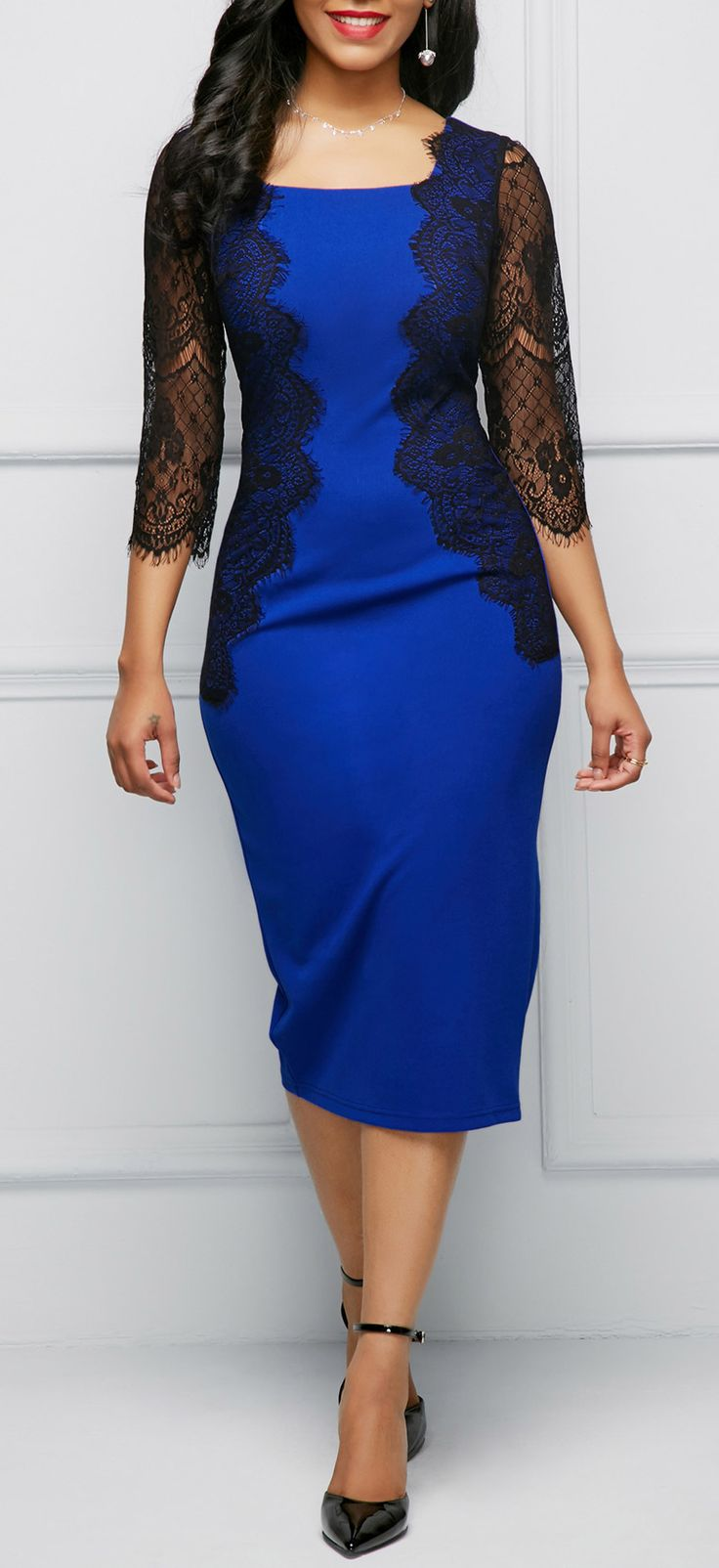 Lace Panel Three Quarter Sleeve Blue Dress.
