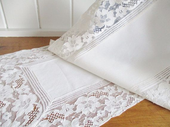 Hey, I found this really awesome Etsy listing at https://www.etsy.com/ca/listing/293275387/vintage-table-runner-linen-and-lace-off