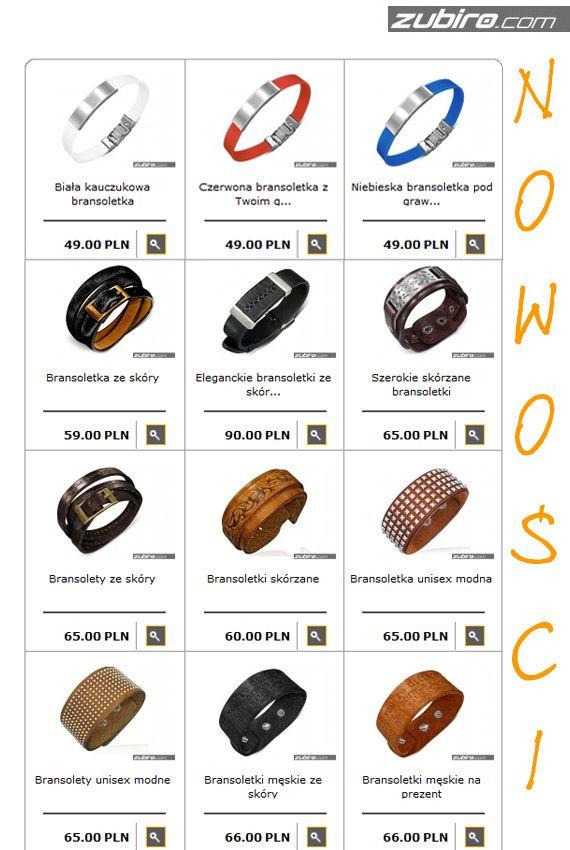 Zapraszamy na gwiazdkowe, przyjemne i bezpieczne zakupy: http://zubiro.com/bransoletki_skorzane,5,0.html  Polecamy nowości, które pojawiły się w weekend: bransoletki skórzane i kauczukowe z możliwością wykonania indywidualnego graweru (cena za grawer jednostronny 25 zł) – możemy wykonać dowolny tekst lub symbole.