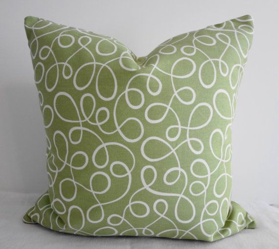 Sage Green Swirls Decorative Throw Pillow Covers P