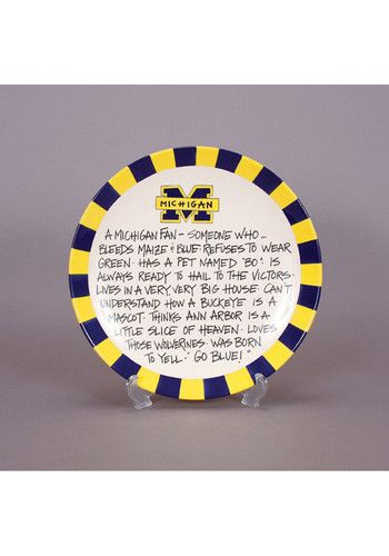 Youll want to break out this Michigan Wolverines Definition Plate to show off your Michigan Wolverines spirit at your next party. This Plate features a team logo with the written definition of a true Michigan fan.