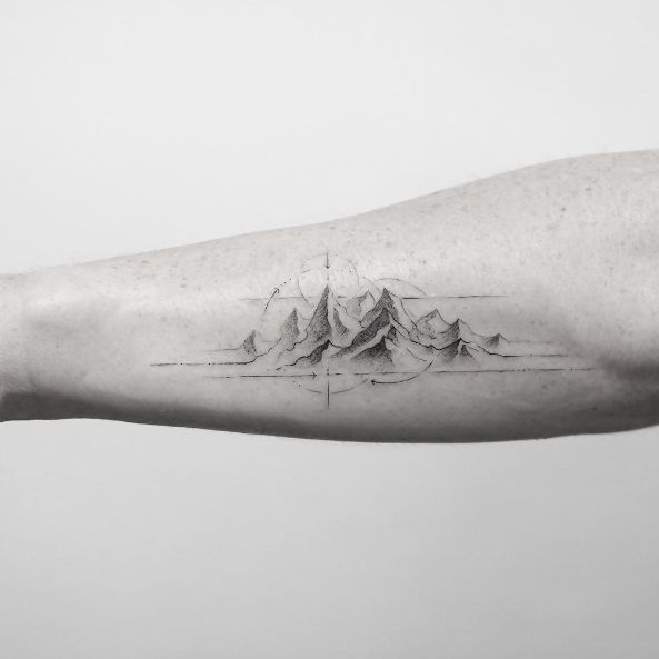 Mountain tattoo by Sanghyuk Ko