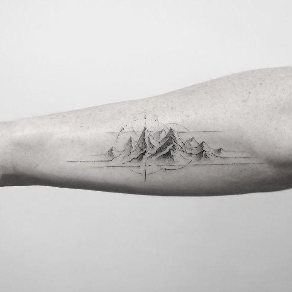 Mountain tattoo by Sanghyuk Ko