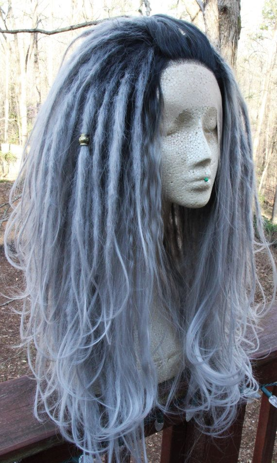 Lace-Front Silver Ombre Synthetic Dreadlock Wig *Synthetic Dreads * Wool Dreads *Dreadlocks Extensions * Cosplay * Festival * Flow * Hooping