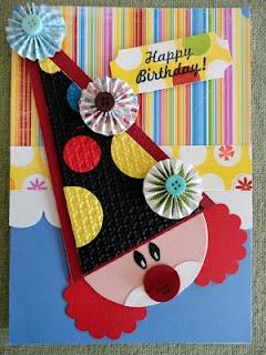 Clown face pull tab birthday card
