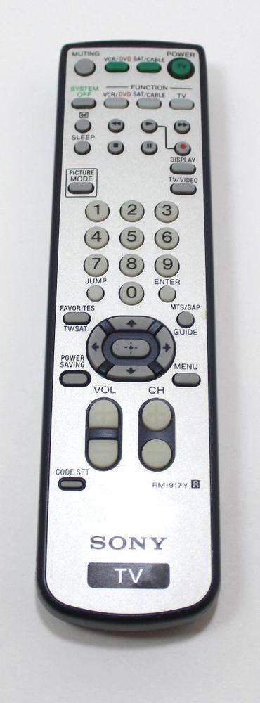 Sony Remote Control Model RM-917Y TV Remote OEM | eBay