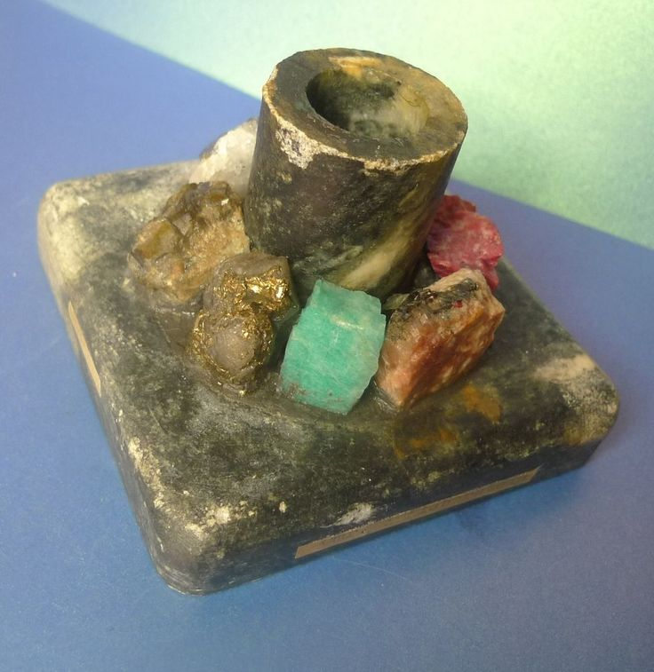 Vintage Scandinavian Suvian Kleberstein Candle Holder Natural Gem Stone Crystal
