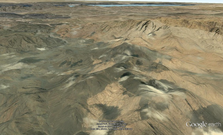 Google Earth: The real Mt Sinai in the foreground and the red sea crossing (Nuwayba'al Muzayyina) in the background.