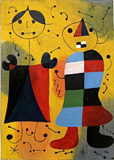 """""""Childrens in the Park"""" Oil on Paper - Joan Miro 19 x 13 1/2""""                                                                                                                                                                                 More"""