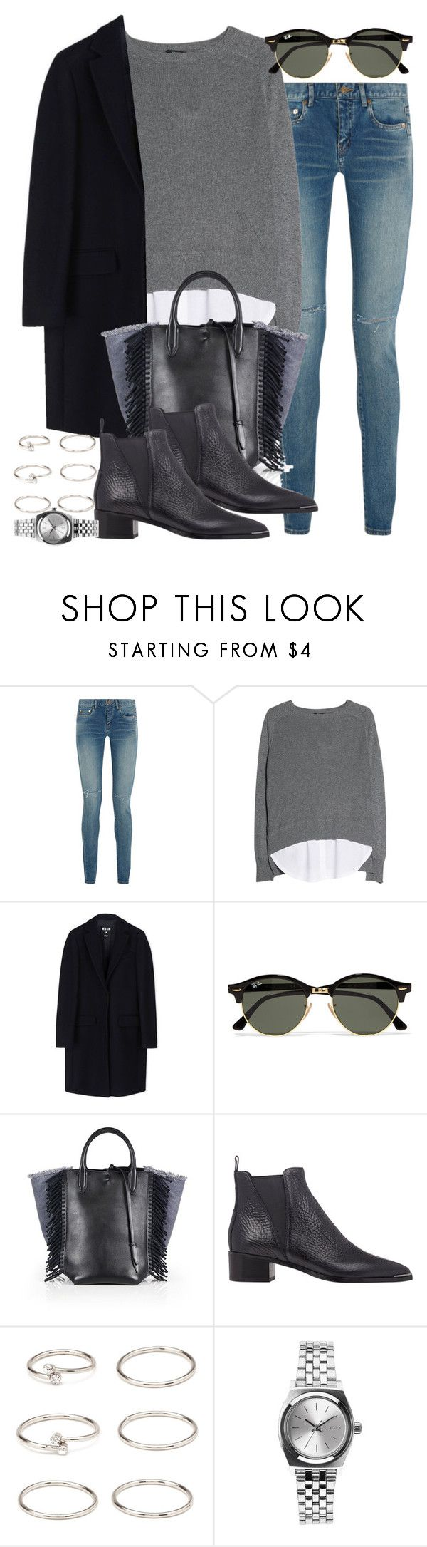 """""""Sin título #3869"""" by hellomissapple on Polyvore featuring moda, Yves Saint Laurent, MANGO, MSGM, Ray-Ban, 3.1 Phillip Lim, Acne Studios, Forever 21 y Nixon"""