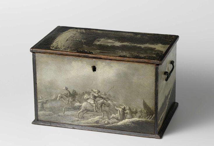 anoniem | Decorated Painter's Box, attributed to Anthonie Jansz. van der Croos, 1640 - 1660 | Eikenhouten zwart geverfde schilderskist, van binnen gemarmerd of met rood laken bekleed en van buiten beschilderd met voorstellingen, waaronder twee ruitergevechten, een grisaille met winterlandschap met jagers, een waterlandschap met eendekooi en eenden, en twee dorpsgezichten; aan de binnenkant van de deksel een herdersscene. De kist bevat drie laden met trekring, waarvan de bovenste niet de hele…