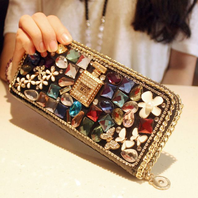 Check current price High quality new design fashion luxury charm diamond bow color crystal perfume wallets purse clutch evening bags casual just only $24.99 with free shipping worldwide  #womanwallets Plese click on picture to see our special price for you