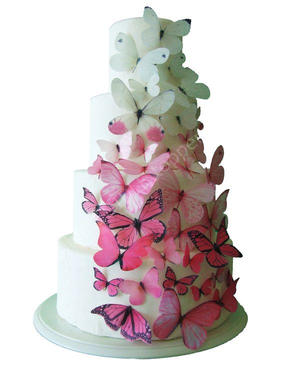 incrEDIBLE Toppers - Ombre Edible Rice paper Butterflies in Pink - Cake Toppers, Cake Decorations, Cake Designs, Cake Decorating, Cake Supplies