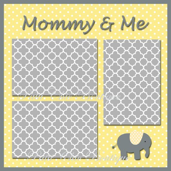 Cute digital download that is only 99 cents! Mommy and Me Baby Premade Page 12x12 Yellow (baby digital 12x12 scrapbook page layout, digital scrapbooking)